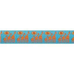 "7/8"" Sue Spargo Ribbon Giraffe Orange/Turquoise"