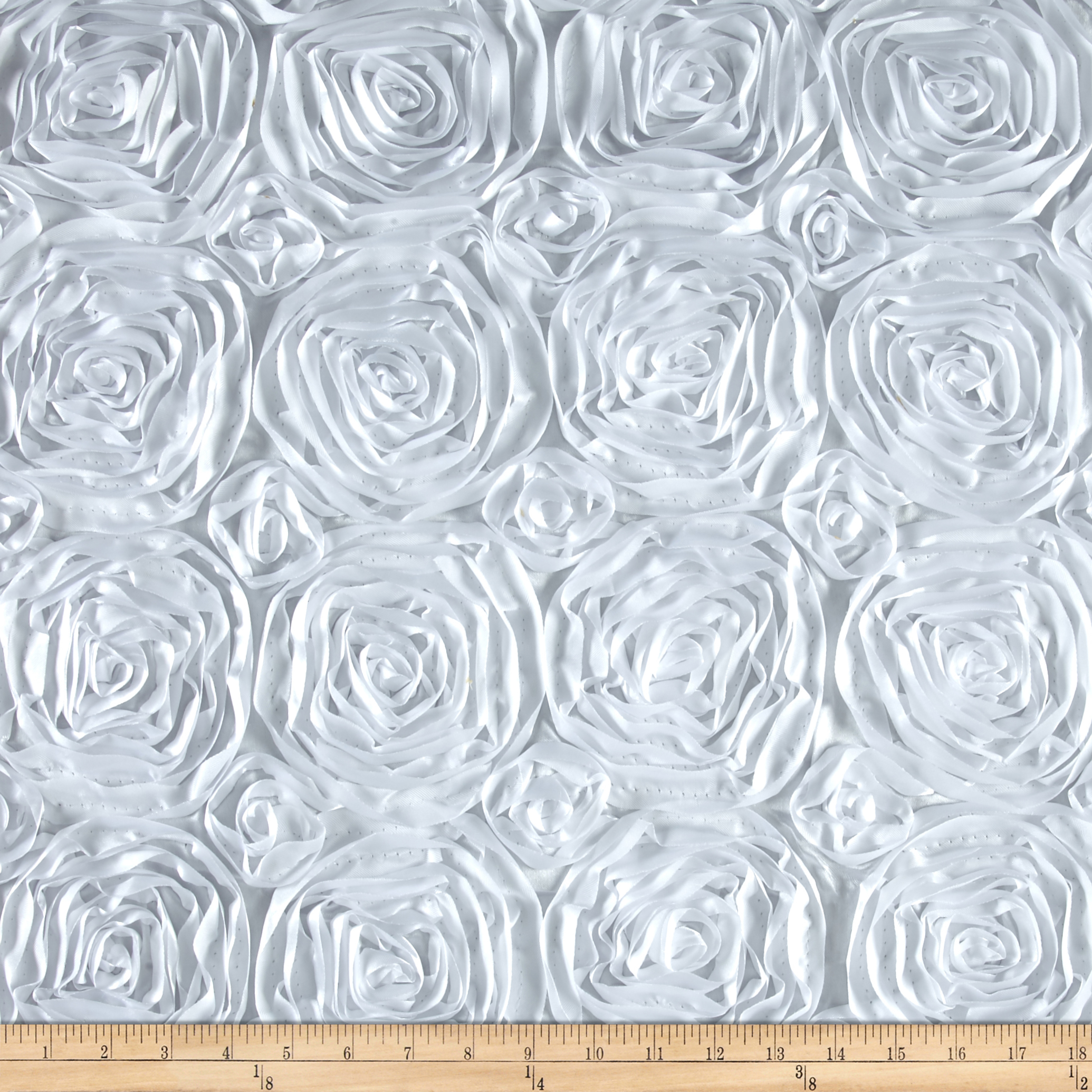 Wedding Rosette Satin White Fabric by Ben in USA
