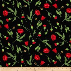 Timeless Treasures Flora Poppy Stems Black