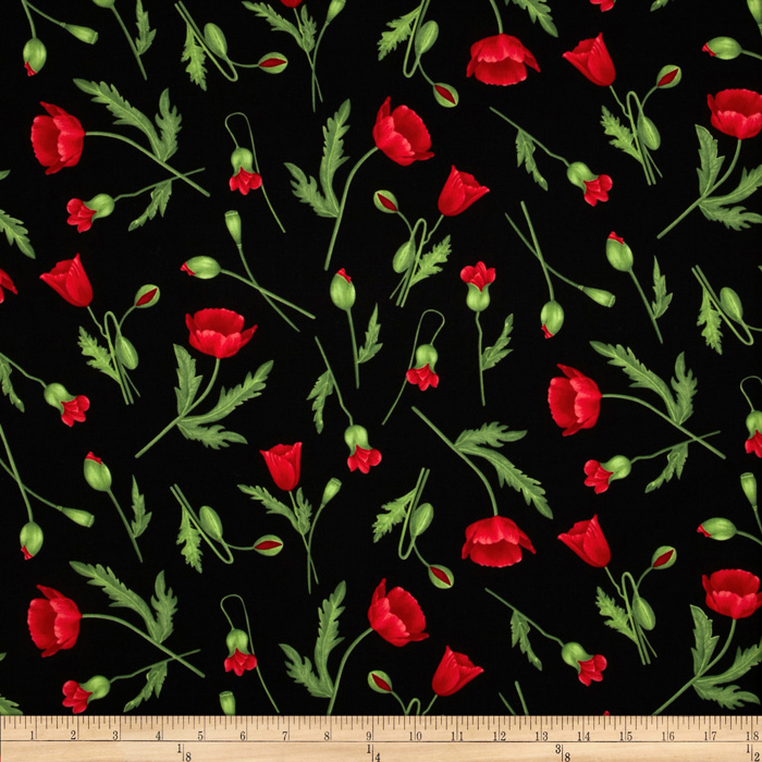 Flora Poppy Stems Black Fabric