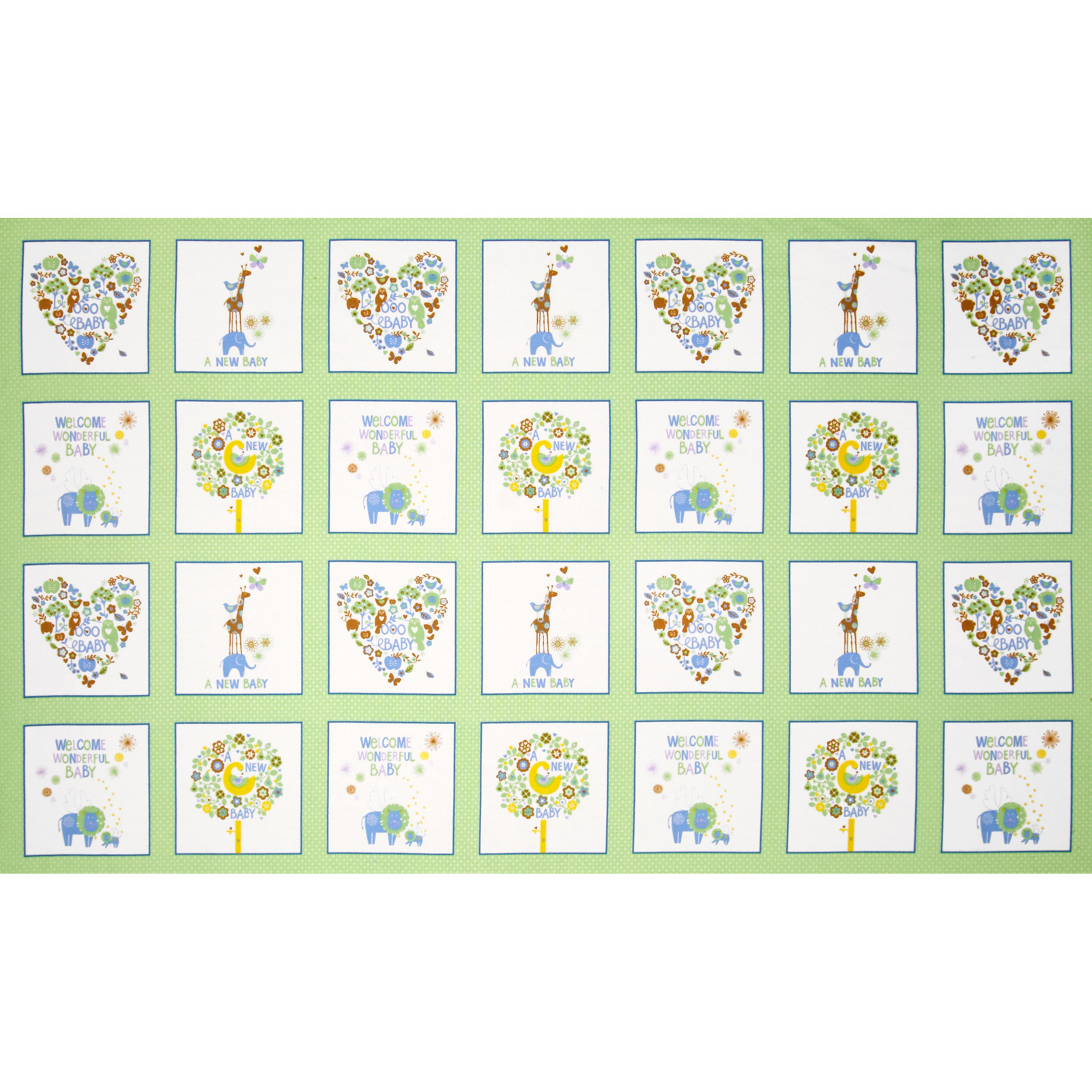 OOO Baby Flannel Patchwork Panel Green Fabric