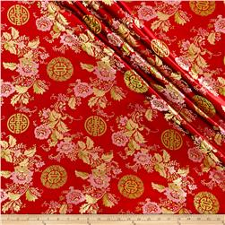 Chinese Brocade Medallion & Floral Red/Pink/Gold