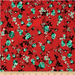 Soft Jersey Knit Floral Red/Mint/Black