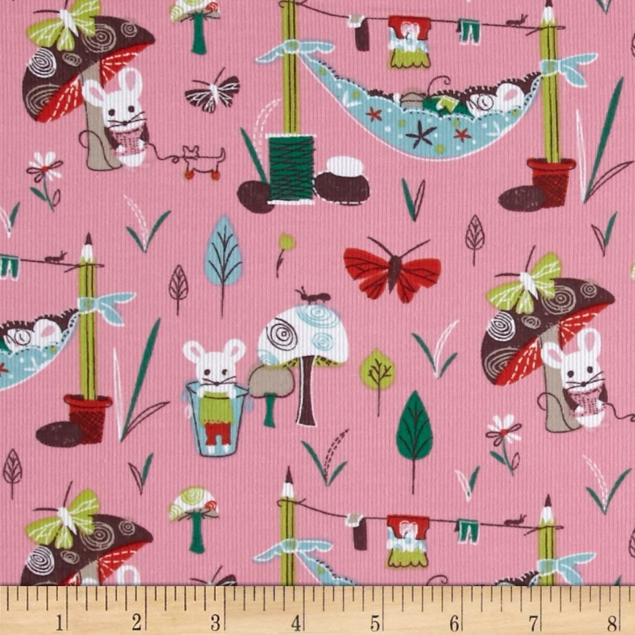 Mouse Camp Corduroy Mice & Mushrooms Pink