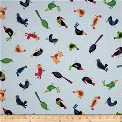 Rainforest Fun Tossed Birds Blue Fabric