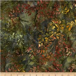 "Timeless Treasures 106"" Batik Quilt Back Bean Stalk Olive"