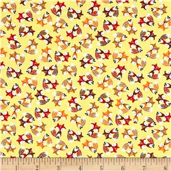 Timeless Treasures Mini's Foxes Yellow