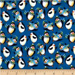 Winter Magic Flannel Penguins Dark Blue