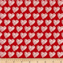 Moda #Love Scribble Hearts Red