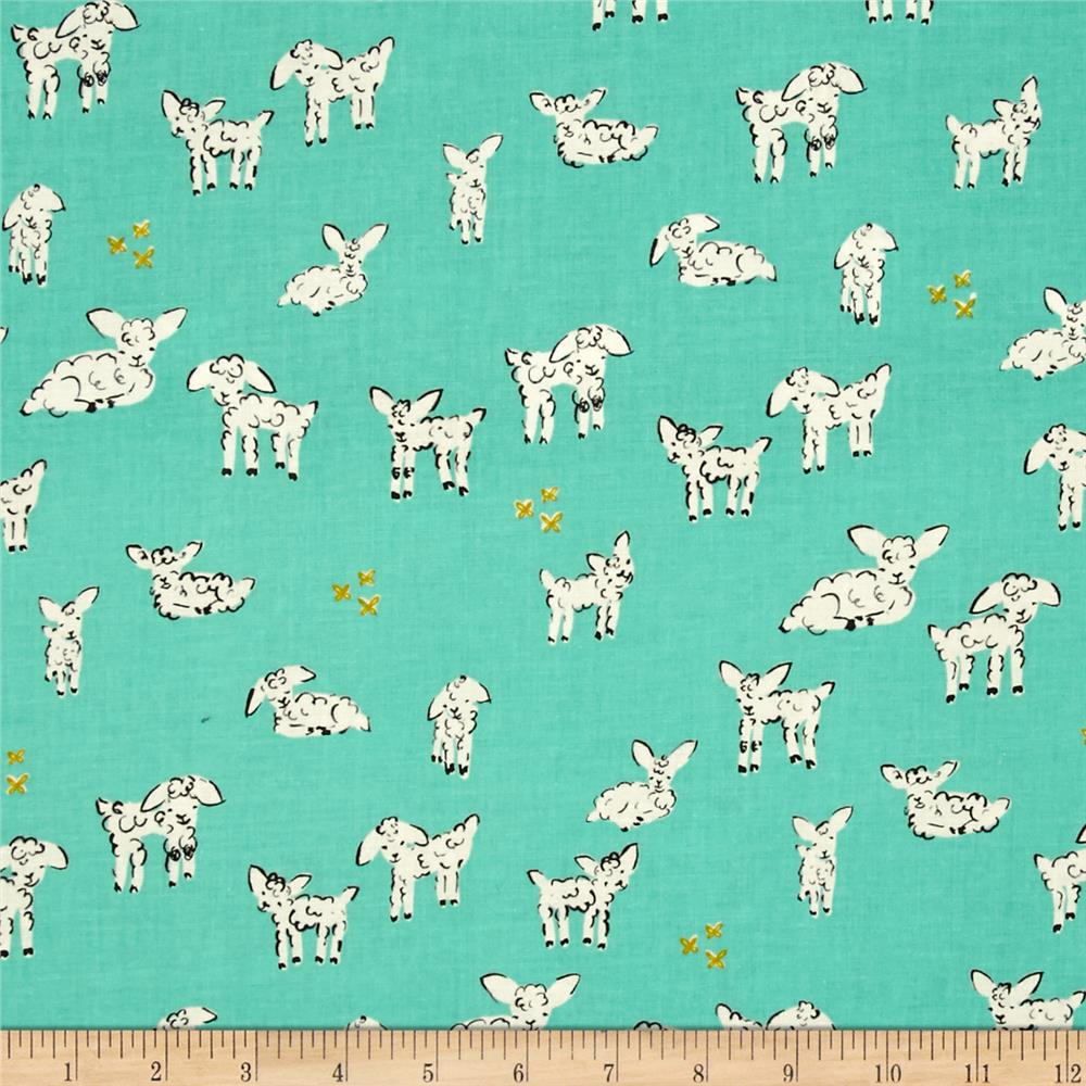 Cotton + Steel Clover Little Lambs Turquoise