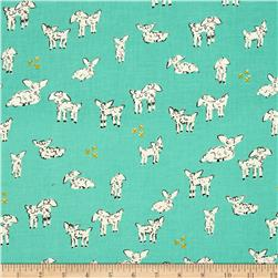 Cotton & Steel Clover Little Lambs Turquoise