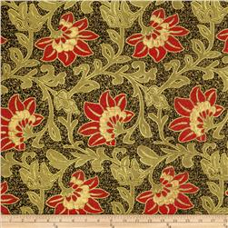 Metallic Brocade Floral Deep Red