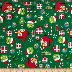 Angry Birds Holly Jolly Christmas Green Fabric