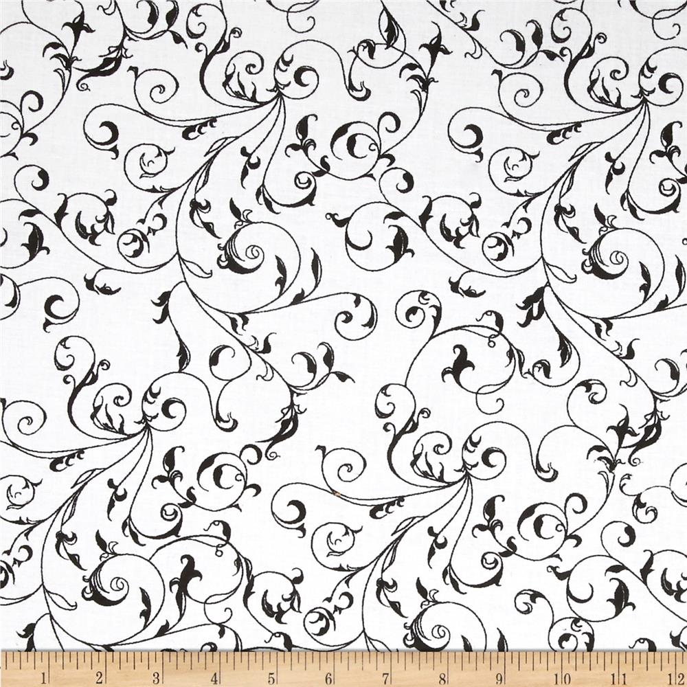 "110"" Wide Quilt Backing Filigree Black/White"