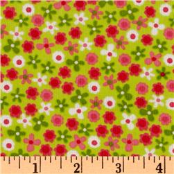 Kaufman 21 Wale Cool Cords Flowers Lime Fabric