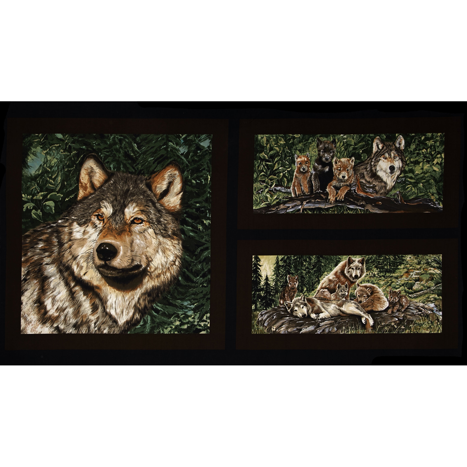 Wolfsong Wolves 24'' Panel Multi Fabric by Exclusively Quilters in USA
