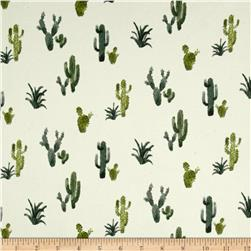 Double Brushed Poly Spandex Jersey Knit Cacti Ivory/Green