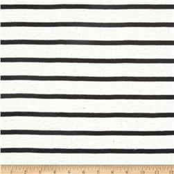 Jersey Knit Small Black Stripes on Ivory
