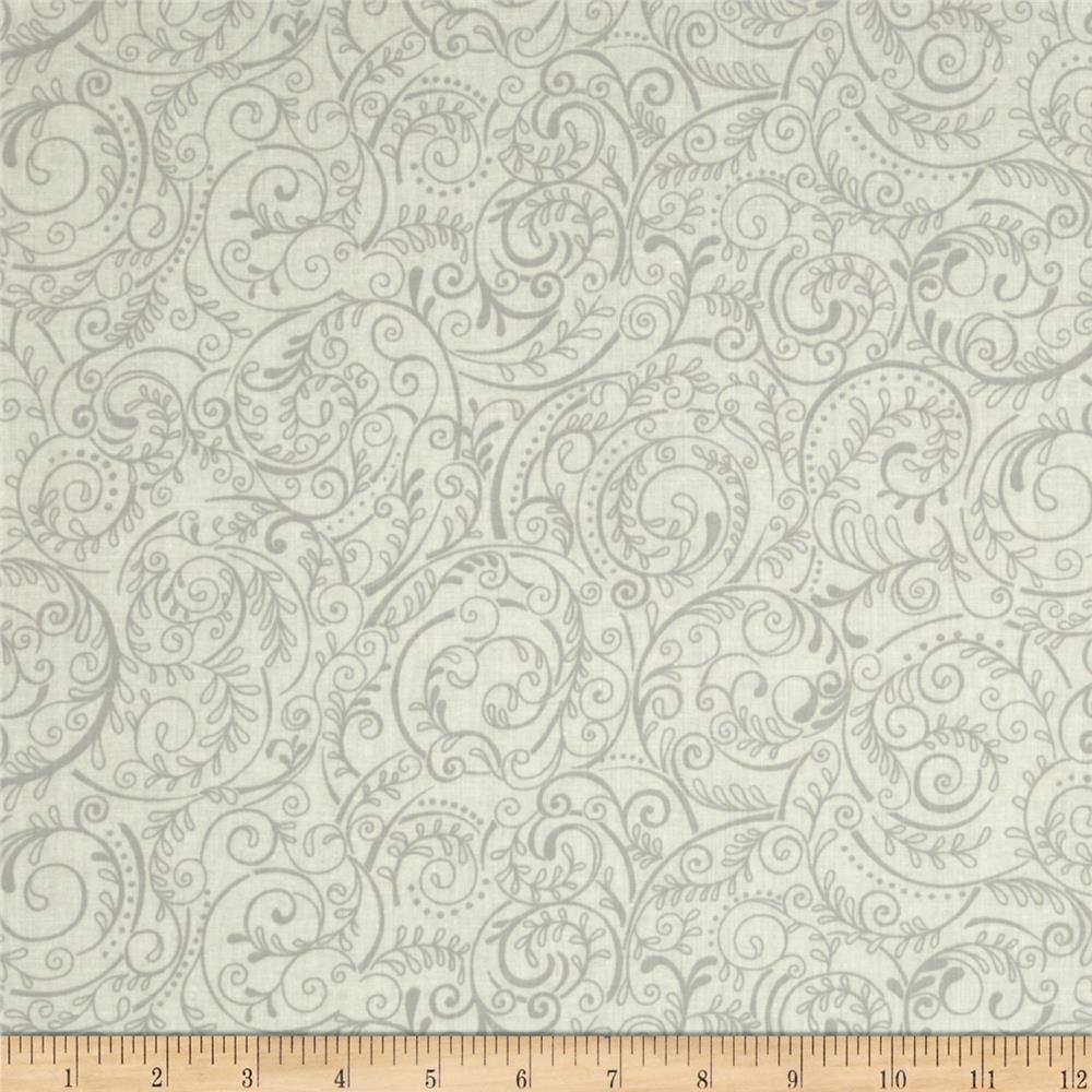 "Charleston 108"" Wide Quilt Backing Swirly Vine White/Grey"