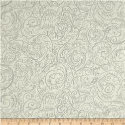 Charleston 108'' Wide Quilt Backing Swirly Vine White/Grey