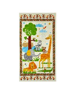 "Safari Expedition 23.5"" Panel Of Scenic Safari Animals Ivory"