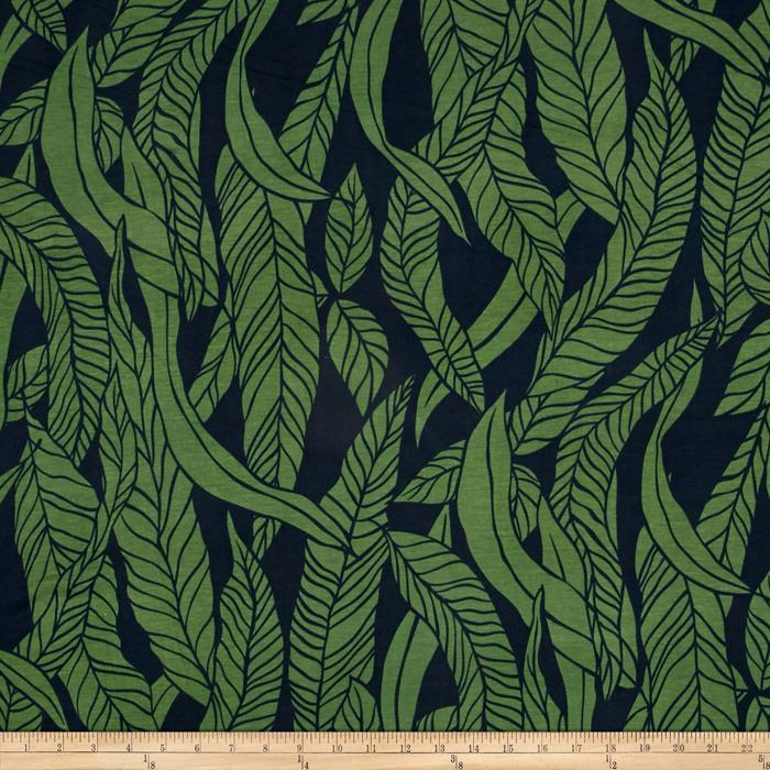 Jersey Knit Leaves Navy Green