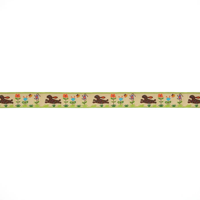 "7/8"" Sue Spargo Spotted Bunnies On Gold In Flower Garden Ribbon Gold"