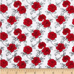 And Sew On Roses White/Red