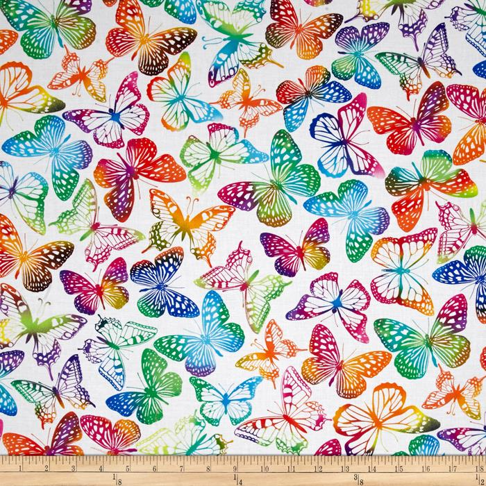 Timeless Treasures Brite Butterflies White