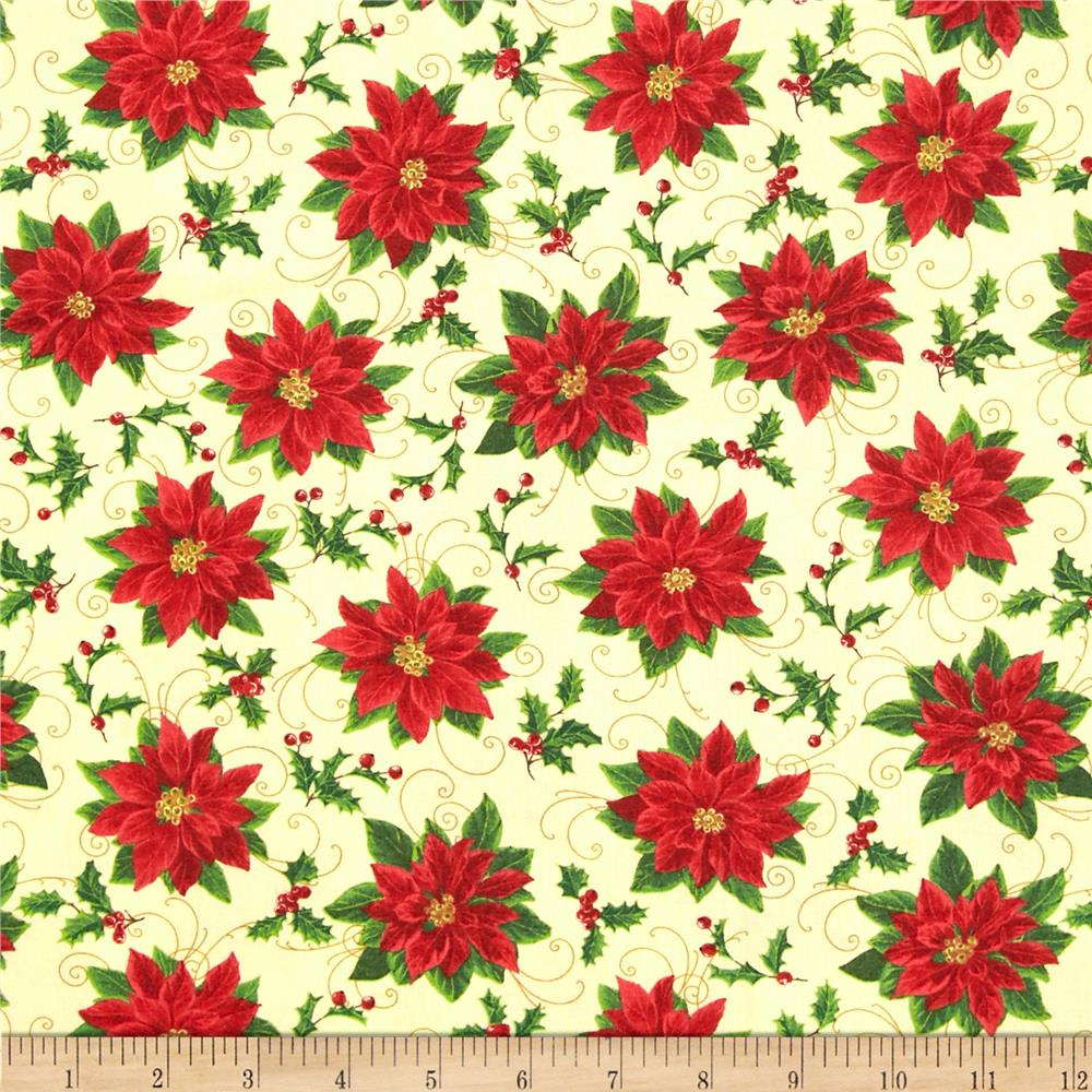 Deck The Halls Poinsettias & Scroll Ivory