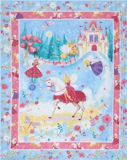 Fairy Castle Double-Sided Quilted Panel Light Blue