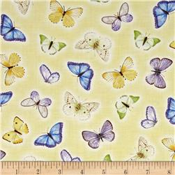 Pretty As A Pansy Tossed Butterflies Light Yellow