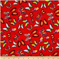 Minky Butterflies Red