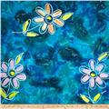 Indian Batik Hand Painted Floral Aqua/Purple