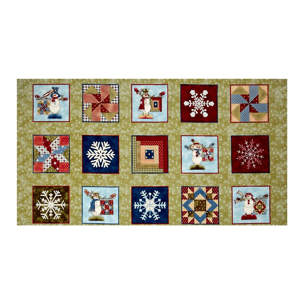 My Precious Quilt Snowman 23 In. Panel Blocks Green