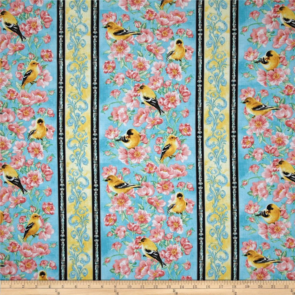 Timeless Treasures Goldfinch Garden Border Stripe Turquoise