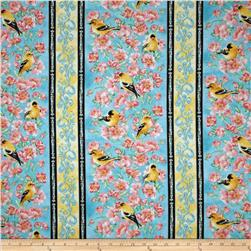 Goldfinch Garden Border Stripe Turquoise