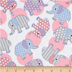 Tossed Elephants White/Pastel
