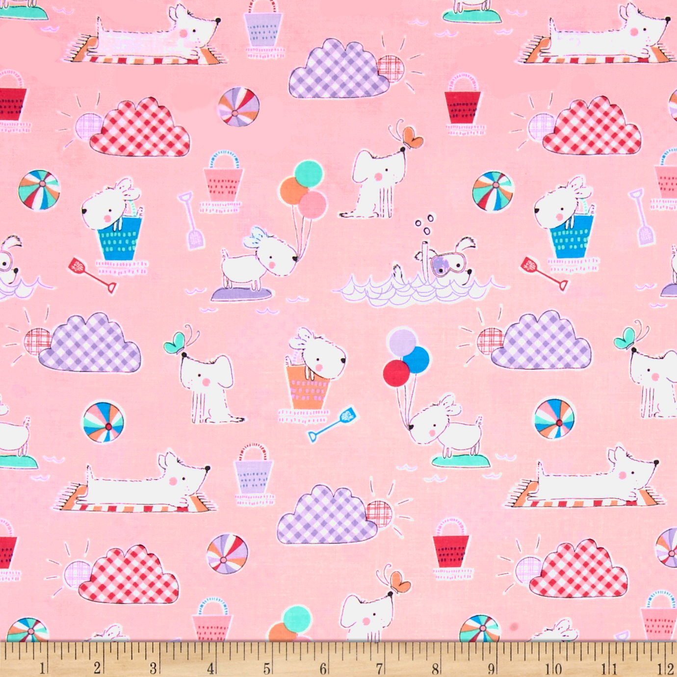 Michael Miller Doggie Play Day Doggie Day Afternoon Blossom Fabric