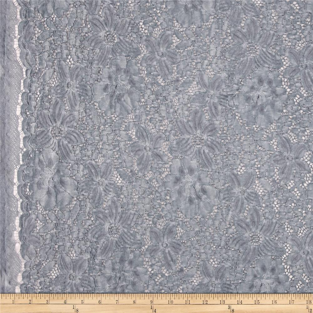 Telio Dream Vintage Wash Corded Lace Grey Sky Fabric