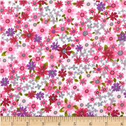 Cuddle Me Basics Flannel Floral Pink Fabric