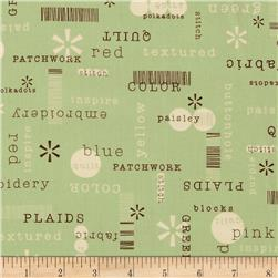 Word Play Patchwords Green Fabric