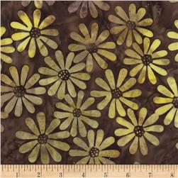 Timeless Treasures Tonga Batik Sonoma Daisies Cocoa Fabric