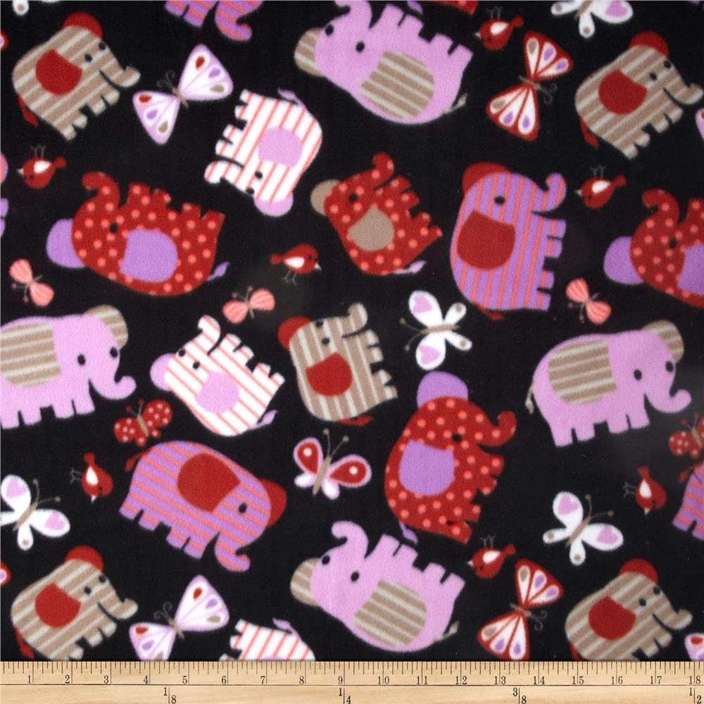 Fleece Prints Elephants Black