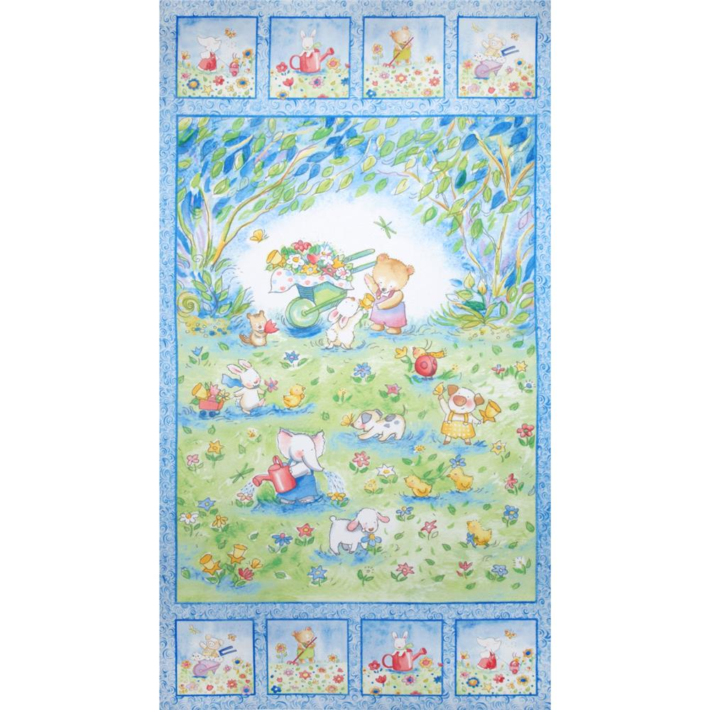 Flannel Bear & Bunny w/ Flowers 24' Panel Blue