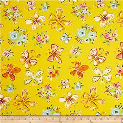 Tiddlywinks Butterflies Yellow Fabric