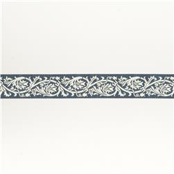 "7/8""French General Ecru Scroll on Blue"