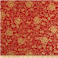 Kanvas Deck the Halls Metallic Tapestry Floral Red
