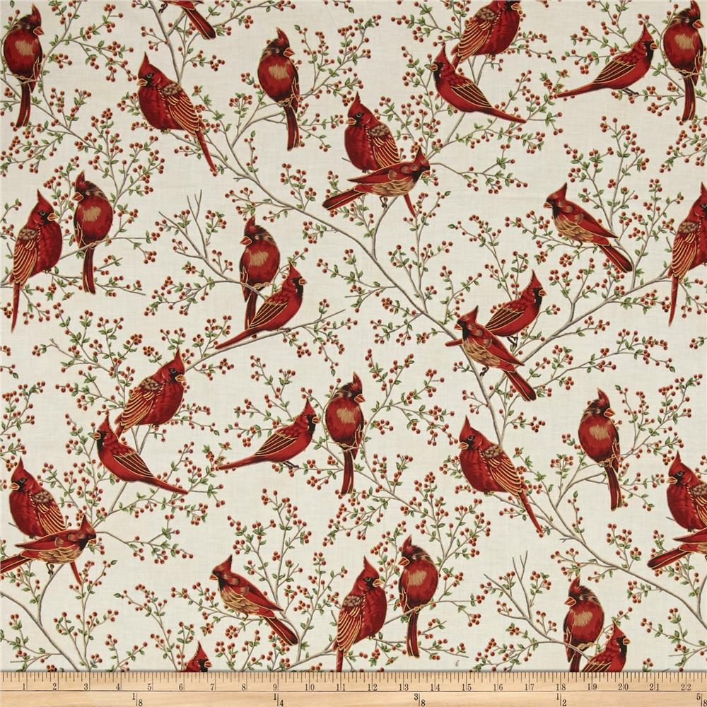 Good Tidings Cardinals Natural/Gold Fabric By The Yard
