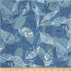 Flutter Leaf Toss Blue Fabric